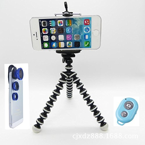 CiDoss Blue Universal Clip-on 180 Degree Fish Eye Lens+Wide Angle Lens+Macro Lens 3-in-1 Kit+Self Portrait Self Shot Monopod Selfie Stick With Phone Holder+Bluetooth Remote Camera Wireless Shutter for Apple iPhone 6/6 Plus/5/5S/5C/4/4S, iPad Air/iPad 234/iPad Mini, Tablet PC, Laptops, Samsung Galaxy S5/S4/S3/S2/ Note3/Note2, HTC ONE M8, Blackberry Bold Touch, Sony Xperia, Motorola Droid and Other Smart Phones