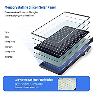 """Solar Street Lights Outdoor, 6000lm Monocrystalline Silicon Panel Dusk to Dawn Solar Powered Flood Parking Lot Lights with Motion Sensor Mounting Arm, Lamp Size 19.2"""" x 9.1"""" x 2.7"""" (Color: Black, Tamaño: 120W)"""