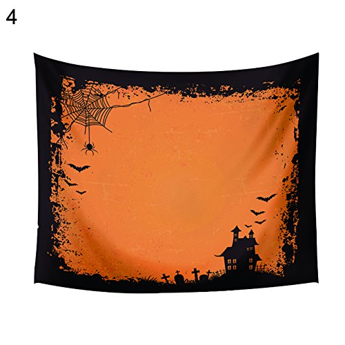 856store Clearance Sale 150x130cm Happy Halloween Pumpkin Bat Bedspread Wall Art Hanging Tapestry Decor ()