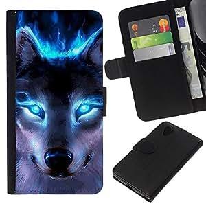KLONGSHOP // Tirón de la caja Cartera de cuero con ranuras para tarjetas - Lobo Ojos azules de neón brillante Bosque Luz - LG Nexus 5 D820 D821 //