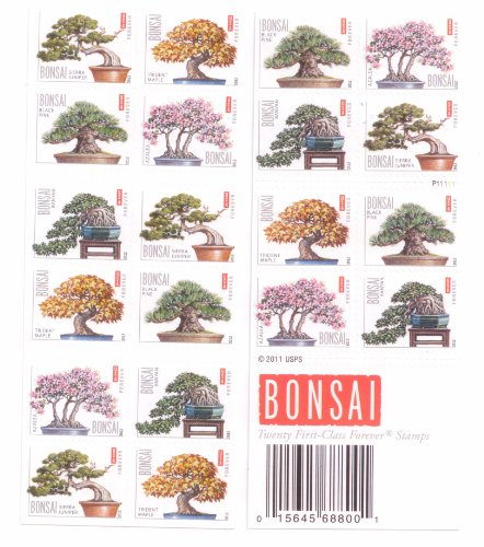 Stamp Booklet Pane (Bonsai Tree Booklet Pane of 20 x Forever Stamps Scott 4618-22 by USPS)