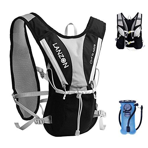 LANZON Hydration Pack with 2L Water Bladder (NO Cleaning Kit) – #2 Black – Marathon Running Vest, Leakproof Reservoir