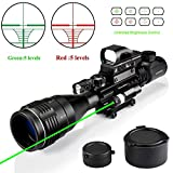 Rifle Scope Combo C4-12x50EG Dual Illuminated with Green Laser sight 4 Holographic Reticle Red/Green Dot for Weaver/Rail Mount