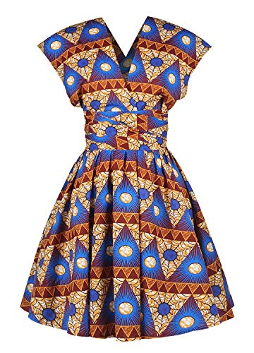 Naimo Girls Bohemia Style Pleated Dress 3D Printing Multi-Way African Dress (Best African Clothing Styles)
