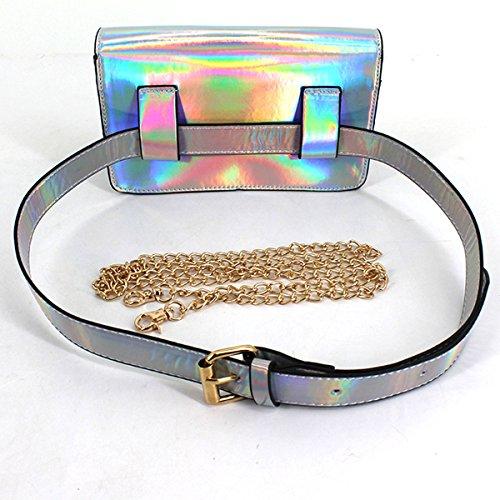 Bag Holiday Holder Waist Pack Bag Leather Bum PU Sliver Laser Women Girls Fanny Millya Hologram Shoulder Chain Money RxSHva7qw