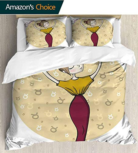 - shirlyhome Taurus 3pcs Duvet Cover Sets,Cute Astrology Woman Balance Beauty Earth Sign Feminine Lady Print Kids Bedding - Double Brushed Microfiber 68