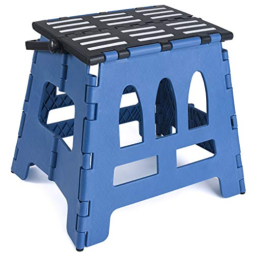 - Acko Folding Step Stool Child Step Stool with Handle for Adults and Kids Kitchen and Garden Step Stool Black Matching Blue Color