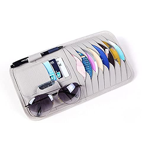 Car CD DVD Holder Disc PU Leather Storage Case Sunglasses Organizer Sun Visor Sunshade Sleeve Wallet Clips in Grey Color by HitCar