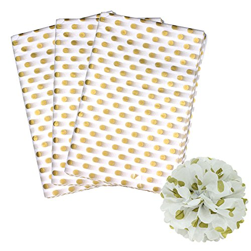 (Polka Dots Tissue Paper Dot Wrapping Paper, Gold and White, 28 Inch by 20 Inch, 50 Sheets)