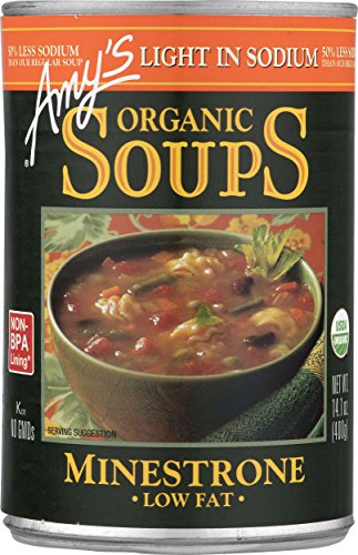 - Amy's Organic Soups, Light in Sodium Minestrone, 14.1 Ounce