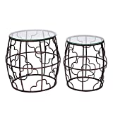 ELEGAN Luxury Classic Metal Accent Nesting Side End Table (Set of 2) (Copper)