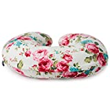 Minky Nursing Pillow Cover | White Floral Pattern