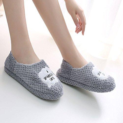 Fankou Automne Hiver Chaussures Fond Mou Paquet Avec Antidérapant Coton Dessin Animé Hiver Pantoufles Décor Femelle, 40-41 (38-39), Nuages gris