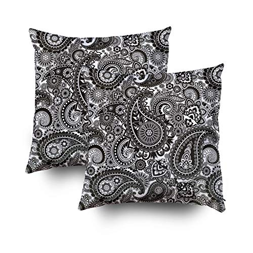 Musesh Pack of 2 black white paisley Cushions Case Throw Pillow Cover Sofa Home Decorative Pillowslip Gift Ideas Household Pillowcase Zippered Pillow Covers 18X18Inch