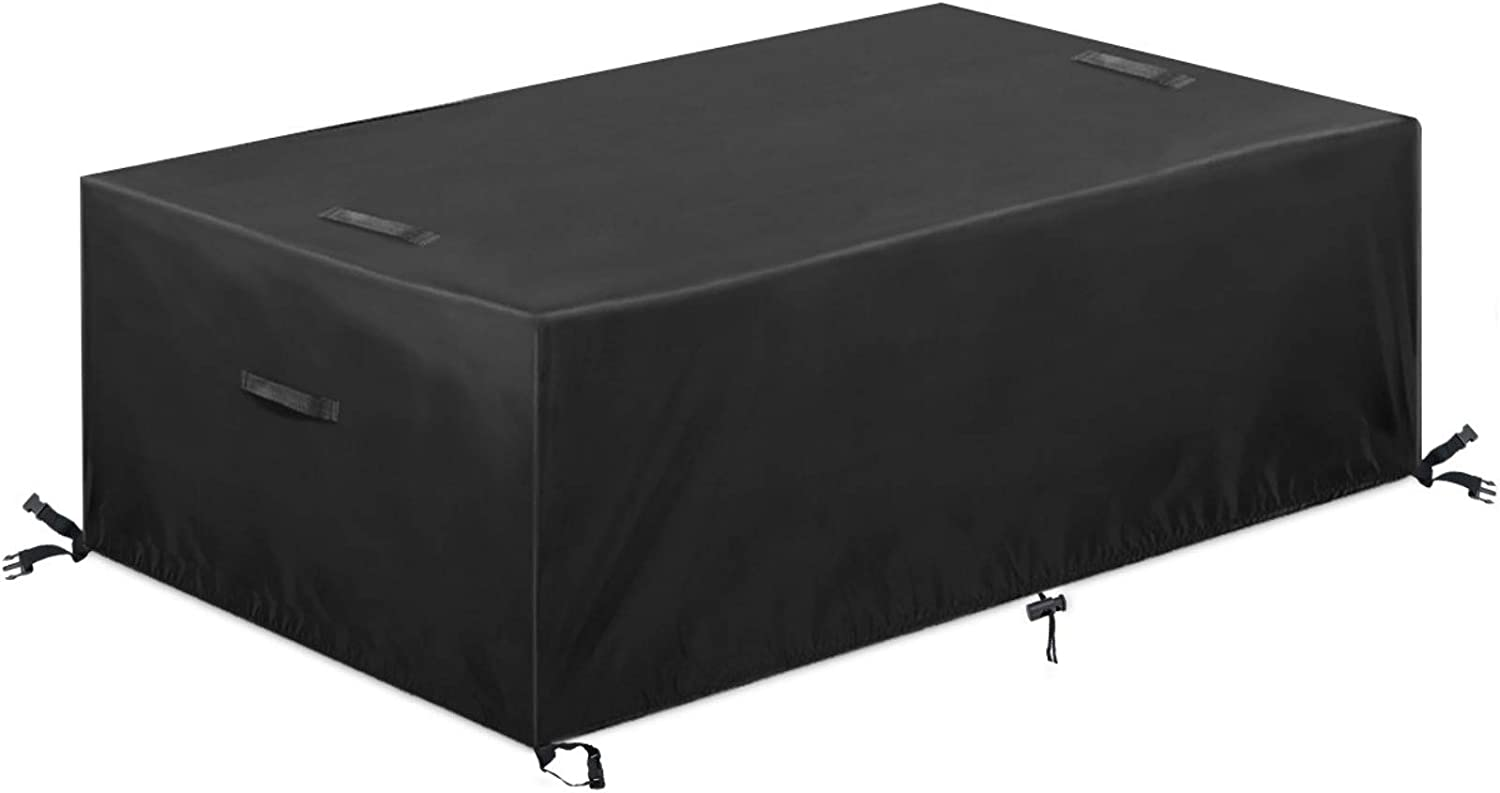 ESSORT Rectangular Patio Furniture Cover Fits for 10-12 Seats 420D Heavy Duty Outdoor Lawn Garden Table and Chairs Covers with Handle, Waterproof, Windproof General Seat Cover, XL: 124''x63''x29''