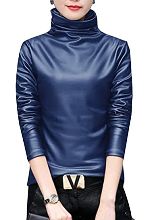 05a2885c13f SELX-Women Faux Leather Turtleneck Tops Long Sleeve Blouse T-Shirt at  Amazon Women s Clothing store