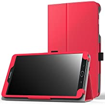 MoKo Samsung Galaxy Tab E 8.0 Case - Slim Folding Cover Case for Samsung Galaxy Tab E 8.0 Inch SM-T377 4G LTE Verizon / Sprint Tablet, RED