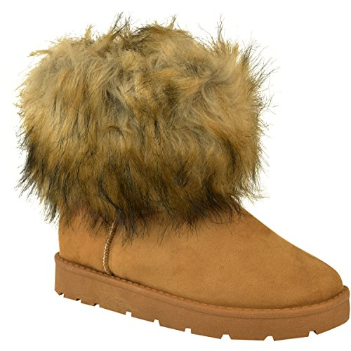 Heel Ankle Flat Brown Fashion Low Fluffy Honey Size Boots Faux Warm Suede Winter Ladies Womens Thirsty Dark Faux Fur qPPFg0w