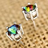 Sumanee New Women Jewelry 925 Silver Rainbow Topaz Stud Earrings Bridal Jewelry Gift