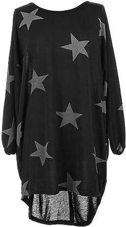 New Ladies Lagenlook Dark Grey Black Star Tunic Top Size 18 20 22 24 26
