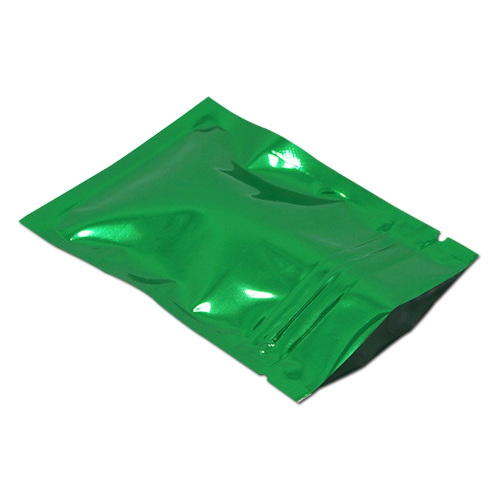 7.5x10cm (2.9x3.9 inch) Green Color Zip Lock Aluminum Foil Pack Bags Resealable Valve Ziplock Mylar Pouch Food Snack Grocery Storage Packaging Moisture-proof 100 Pcs