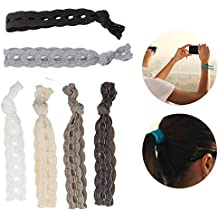 6pcs Set Kit Lot Pack of Nylon Ponytail Holders Hairstyling Scrunchies Hairbands Hair Bands Hairdos Bobbles In 6 Various Colors and Braided Designs