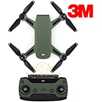SopiGuard 3M Matte Army Green Precision Edge-to-Edge Coverage Vinyl Sticker Skin Controller 3 x Battery Wraps for DJI Spark