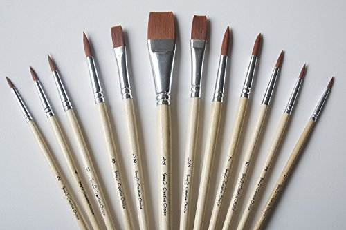 Jerry Q Art 12 PC Brown Synthetic Hair Round And Flat Paint Brush Set With Short Wood Handles For Acrylic, Watercolor and All Media JQ59831