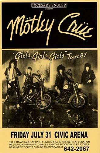 Motley Crue Girls Girls Girls Tour 1987 Retro Art Print — Poster Size — Print of Retro Concert Poster — Features Mick Mars, Nikki Sixx, Tommy Lee and Vince Neil .