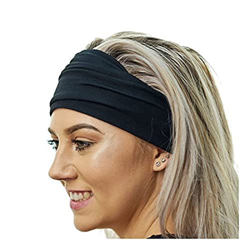 Black Yoga Headband - Ideal for Sports, Stretching, Pilates, Light Workouts, Exercising and Travel - Made from Lightweight Bamboo Jersey - Stretchy, Stylish & Versatile - By Red Dust Active