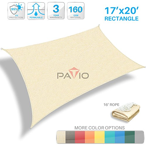 Patio Paradise 17' x 20' Tan Beige Sun Shade Sail Rectangle Canopy - Permeable UV Block Fabric Durable Patio Outdoor - Customized Available by Patio Paradise