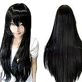ZyrunaeL Wigs 80cm Long Straight Anime Fashion Women's Cosplay Wig Party Wig (80cm, Black)
