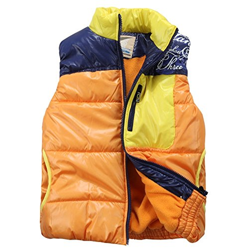 XiaoYouYu Big Boy's Patchwork Style Thick Winter Insulated Outerwear Vests US Size 12 Orange