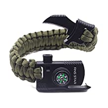 Paracord Survival Bracelet 500 LB - Hiking Gear Travelling Camping Gear Kit - Parachute Rope Bracelet,Compass Stone,Stainless Fire Scrapper,Flint Fire Starter,Survival Knife,Whistle