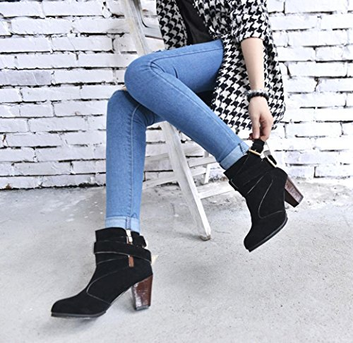 Heels Buckle Belt Ankle Faux Martin High Women Boots Ladies Boots Black Shoes XILALU qZpS1