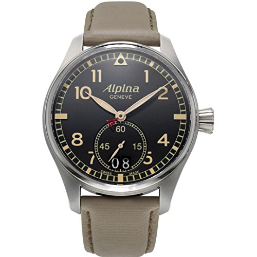Alpina Men's 'STARTIMER PILOT BIG DATE' Quartz Stainless Steel and Leather Casual Watch, Color:Beige (Model: AL-280BGR4S6)