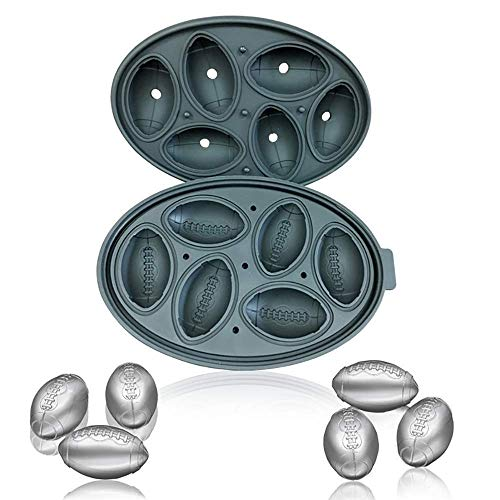 Silicone Ice Cube Trays with Lids and Funnel,Fun Small Football Shap Ice cube Molds for Freezing Whiskey and Cocktail, Black ()