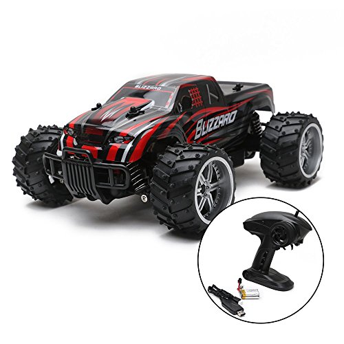 Wishtime RC Car Off Road High Speed 40km/h 1:16 Scale 50M Remote Control Electric Vehicle with Rechargeable Battery (Charger - Battery Chargers Radio Control
