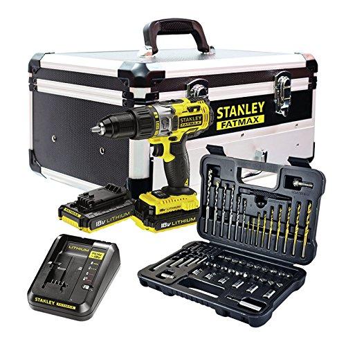 STANLEY FATMAX FMCK625D2F-QW – Taladro percutor 18V, 27.200 ipm, con 2 baterías de litio 2Ah, set de 50 acc y maletín de…