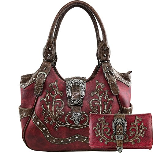 Western Tooled Leather Purse - Justin West American Albino Floral Embroidery Buckle Shoulder Concealed Carry Handbag Purse (Red Purse and Wallet Set)