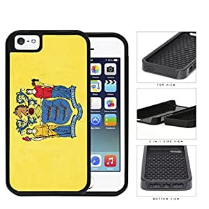 New Jersey State Flag 2-Piece Dual Layer High Impact Rubber Silicone Cell Phone Case Apple iPhone 5 5s
