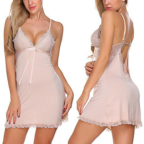 ses Sexy Lingerie Lace Babydoll Full Slip Sleepwear Dress, Apricot, Medium (Sexy Lingerie Pregnancy)