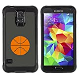 Be-Star Unique Pattern Anti-Skid Hybrid Impact Shockproof Case Cover For SAMSUNG Galaxy S5 V / i9600 / SM-G900F / SM-G900M / SM-G900A / SM-G900T / SM-G900W8 ( Basketball Orange Minimalist Sport )
