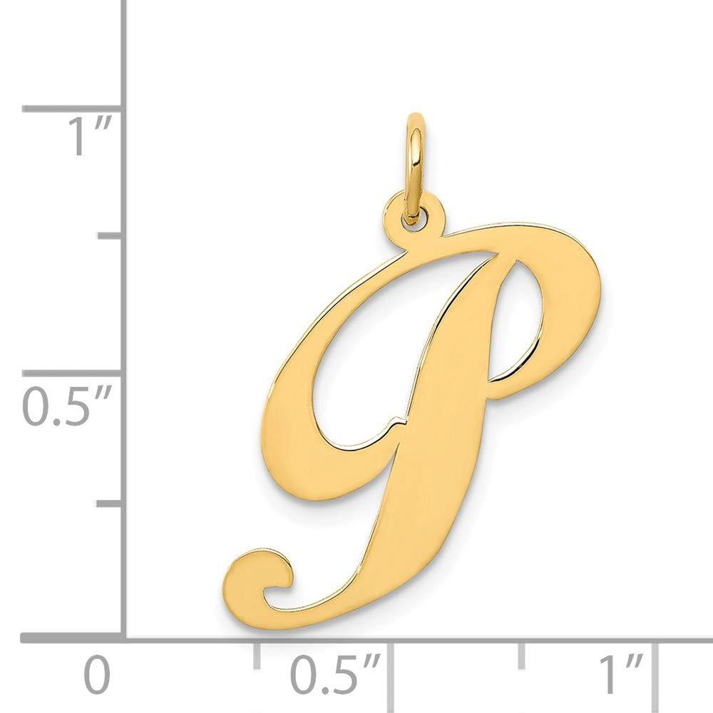 14k Yellow Gold Large Fancy Script Initial P Charm