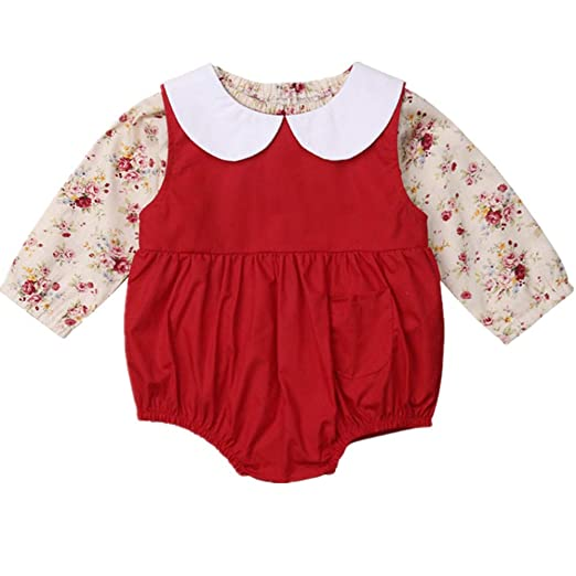 88d57895d Image Unavailable. Image not available for. Color: Zoiuytrg Newborn Baby  Girl Flower T-Shirt Romper Kid Long Sleeve Peter Pan Collar Shirt