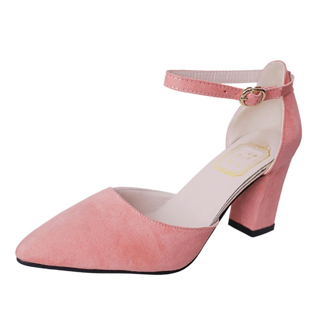 Fiaya Women s Flock Pointed Toe High Heels Suede Ankle Strap Pumps (Pink