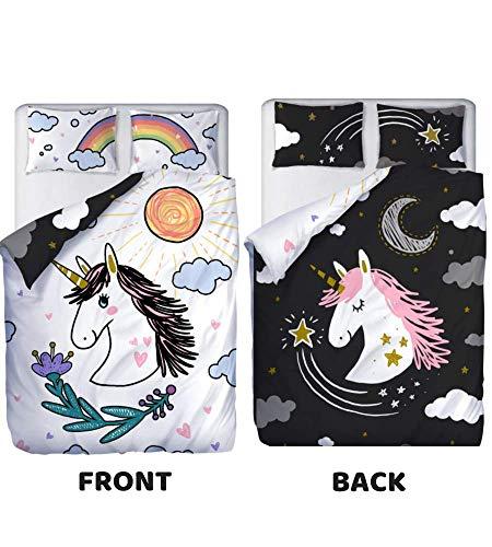 Double Sided Unicorn Bedding | Unicorn Bedding Twin for Girls | Unicorn Comforter Twin Cover Set | Unicorn Twin Bedding for Girls | Unicorn Bedding Full 3 Pc Set | Unicorn Bed Set Twin for Bedroom