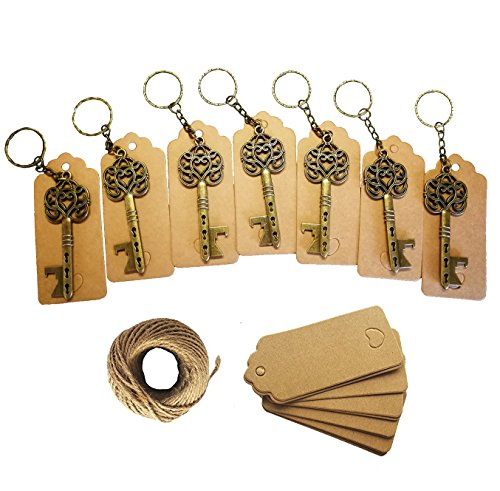50Pcs Wedding Favors Skeleton Key Bottle Opener,Vintage Skeleton Key Bottle Opener with 50pcs Escort Card Tag and Twine for Guests Party Favors Rustic -