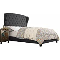 Millbury Home Maria Bella Linen Upholstery Platform Bed, King, Charcoal