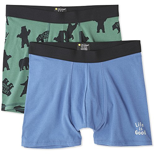 Life is Good Mens Boxer Brief 2 Pack Underwear,Bear Forest Green,X-Large